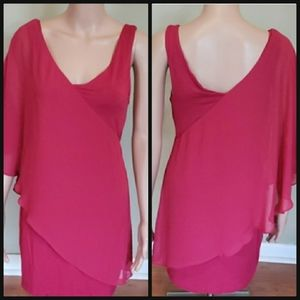 BEBE hot pink drape one shoulder slimming dress